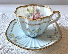 Blue EB Foley China Tea Cup and Saucer Teacup Set
