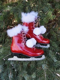 christmas winter red skates green christmas christmas home christmas holidays christmas crafts