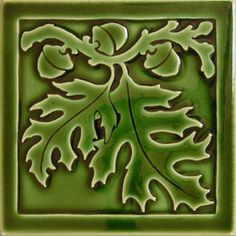 White Oak IN evergreen gloss -- Carreaux du Nord art tiles Vintage Tile, Vintage Ceramic, Ceramic Art, Antique Tiles, Arts And Crafts Movement, Azulejos Art Nouveau, Craftsman Tile, Art Nouveau Tiles, Tile Stores