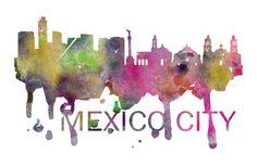 Mexico City Art, Mexico City Skyline, Mexico City map, Mexico City wall art, Mexico City map print  A beautiful Watercolor Art print of