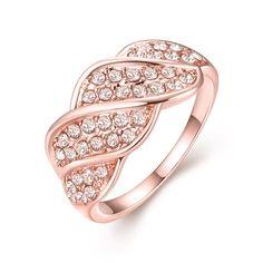 18-Karat Rose Gold Plated Crystal Pave Ring