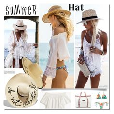 """summerhat"" by bellamonica ❤ liked on Polyvore featuring Lenny, J.Crew, adidas, MANGO, Eugenia Kim and summerhat"