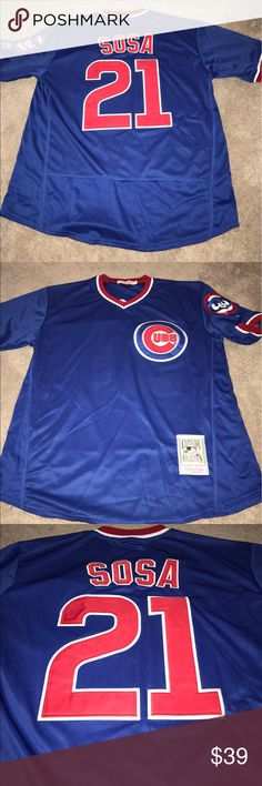 Chicago Cubs Sammy Sosa 1984 Throwback Jersey XL Men's Chicago Cubs Sammy Sosa 1984 Throwback jersey by Majestic Athletic. Fully embroidered, size XL, brand new with tags On-Field style Cooperstown Collection jersey. Check out my other listings for more Cubs merchandise for men, women and kids! Mitchell & Ness Shirts Tees - Short Sleeve