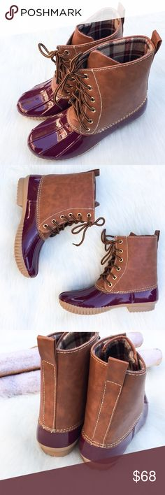 """Wine Duck Boots These gorgeous wine and brown duck boots are perfect for those snowy and rainy Winter days! Waterproof rubber base and sole with a lace up front. Heel Height: 1"""" . Search: rain boot, red duck boots, red boots, snow boot. Runs true to size. *PLEASE DON'T USE MY PHOTOS TO RESELL  ▫️Add to Bundle"""" to add more items in my closet or """"Buy"""" to checkout here with your size.  ↓Follow me on Instagram ↓         @ love.jen.marie  📷YouTube: http://youtu.be/HyJJZVz3gUI   Please subscribe…"""