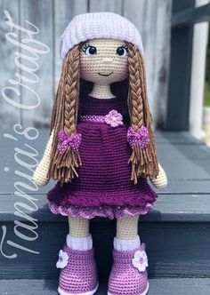 Made to order amigurumi doll let me introduce the 21 inches adorable and beautiful adry doll purple dress this beautiful amigurumi doll is great for a gift for those little girls who loves dolls its 21 inches tall this dolls is inspired and dedicate Cute Crochet, Crochet Crafts, Crochet Toys, Crochet Baby, Crochet Projects, Easy Crochet, Crochet Doll Dress, Crochet Doll Clothes, Knitted Dolls