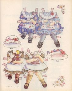 SISTERS Paper Dolls by Yuko Green     These are two sweet little girls sitting side by side. They are Sally and Sarah. At first glance you might think they are dressed as twins. Look at the colors in the outfits and you will see each one is different. They are having tea, playing dolls and reading. From Contemporary Doll Magazine late 80s/early 90s. 2 of 2