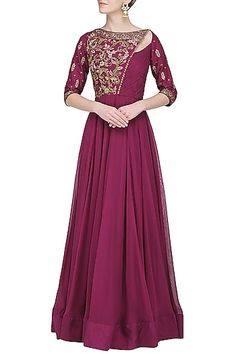 Avdi Featuring a magenta anarkali gown in chanderi silk with hand and machine floral embroidery and ruching detailing. Indian Gowns, Indian Wear, Indian Outfits, Indian Clothes, Anarkali Gown, Lehenga, Sarees, Latest Gown Design, Fashion Wear