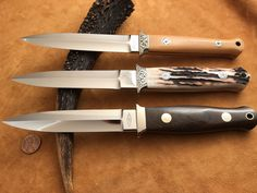$12,500 buys the knife on the bottom of the photo. The other 2 are sold. Made in mid 80's. Two tone pins, solder. Dagger by RW Loveless.#loveless #famousknives #fighter #dagger #bigbear  #bobloveless #johndenton #customknives #tactical #knifecollecting #handmadeknives #droppointhunter #bootknife #semiskinner #stevejohnson #jimmerritt #r.w.loveless #boblovelessbook #knifecollectorsbook #customknives #custom #tactical  #guncollecting #michealwalker #investment #ferrari #rolex Collector Knives, Boot Knife, Vintage Bob, Buy Sell Trade, Loveless, Handmade Knives, Tactical Knives, Custom Knives, Stuff To Buy