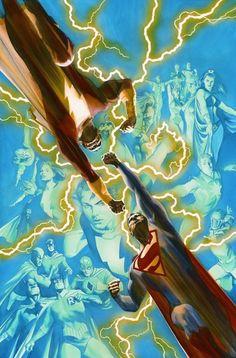 Superman vs Captain Marvel / Shazam by Alex Ross Marvel Vs, Captain Marvel Jr, Original Captain Marvel, Superhero Characters, Comic Book Characters, Comic Character, Comic Books Art, Book Art, Alex Ross