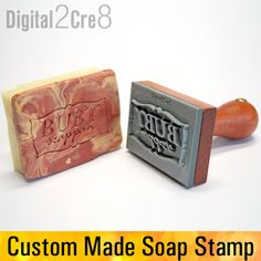 Custom made personalized soap stamp or soap embossing die, engraved hard PVC mounted with a wood handle under 3 This custom made stamp will embed your logo, any text or image in your hand made soap! This is an engraved stamp mounted on a wooden handle which comfortable to use and very strong. You can use it with a rubber mallet too. The heigth of the graphics is 1/8 (3 mm) which high enough to make crisp good readable print in your stamp.  I can make a stamp using almost any graphic, log...