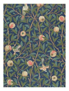 william morris bird and pomegranate wallpaper design printed by john henry dearle, William Morris Wall Tapestry, Wallpaper, Design Art William Morris Wallpaper, William Morris Art, Morris Wallpapers, Bird Wallpaper, Pattern Wallpaper, Bedroom Wallpaper, Print Wallpaper, Glittery Wallpaper, Hallway Wallpaper