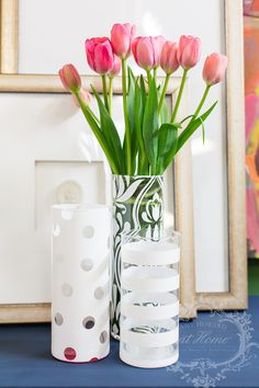 These adorable dollar tree vases were made fabulous with stencils and my  Amy Howard at Home white lacquer. It looks like it came from a factory!