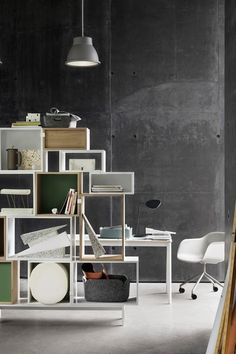 Muuto DIY home office organisation ideas featuring the stacked storage system and studio pendant lamp