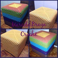 Capa para puff em crochê. Crochet pouf cover. Crochet Pouf, Crochet Crafts, Bead Crafts, Diy And Crafts, Stool Covers, New Hobbies, Shawls And Wraps, Handicraft, Needlework