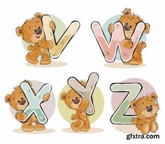 Cute teddy bear soft toy illustration with letters and numbers 50 Eps