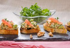 Walnut, Edamame, Grapefruit Bruschetta with Arugula Salad - sounds fancy and delicious!