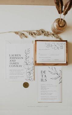 Wedding Invitation Card Template, Wedding Templates, Wedding Invitation Suite, Floral Wedding Invitations, Wedding Stationary, Invites, Minimalist Wedding Invitations, Boho Wedding, Wedding Ceremony