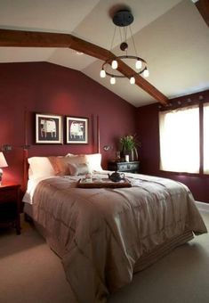 Perfect Marsala Wine Bedroom Colors, Modern Bedroom Decorating With Dark Red Color