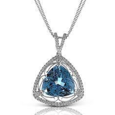 This fabulous 18K white gold pendant is comprised of .41ctw round white Diamonds and 9.42ct Aquamarine.