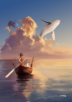 """he grins."""" august, smiling cheekily, whistles the whole way to jules on his little paddleboat. Fantasy Landscape, Fantasy Art, Wallpaper Animes, Whale Art, Wale, Fantasy Places, Anime Scenery, Surreal Art, Aesthetic Art"""