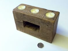 Reclaimed Oak Fencepost Candles, with spare candles! £22 each.