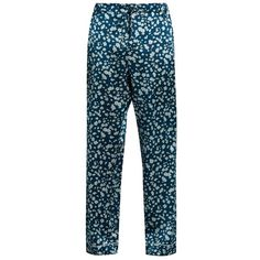 Meng Floral-print silk-satin pyjama trousers ($239) ❤ liked on Polyvore featuring men's fashion, men's clothing, men's pants, men's casual pants, blue multi, mens elastic waistband pants, mens floral print pants, mens loose fit cargo pants, mens blue pants and mens floral pants