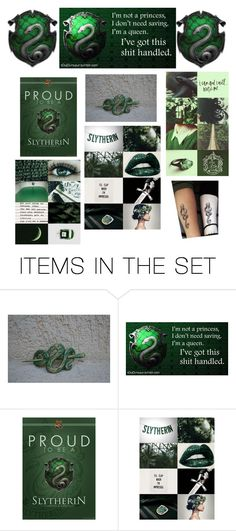 """HAPPY SLYTHERIN PRIDE DAY, LOVES!"" by ghoul1010 ❤ liked on Polyvore featuring art"