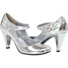 PAOLO IANTORNO Beverley Modern Mary-Jane Silver ($179) ❤ liked on Polyvore featuring shoes, pumps, heels, silver, evening shoes, silver mary jane pumps, high heel pumps, mary jane pumps and heels & pumps