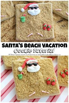 Santa Beach Cookies Tutorial - a fun Christmas cookie decorating idea that's far from traditional! Both kids and adults will love this fun design.