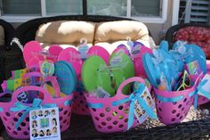 Teen Beach Movie 10th Birthday | CatchMyParty.com   gift bags with flip flops pool party
