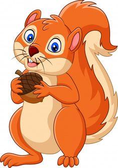 Cartoon squirrel holding nut vector image on VectorStock Art Drawings For Kids, Cute Animal Drawings, Easy Drawings, Art For Kids, Cute Cartoon, Cartoon Art, Cartoon Characters, Parrot Cartoon, Baby Animals