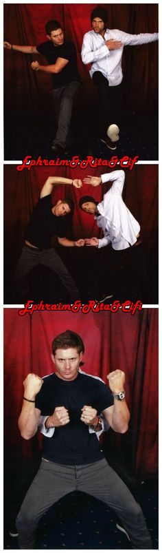 Supernatural Convention photo shoot - Jensen Ackles & Jared Padalecki - Dean & Sam Winchester