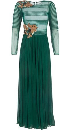 Green pleated jumpsuit by RIDHI MEHRA. Shop at http://www.perniaspopupshop.com/whats-new/ridhi-mehra-green-pleated-jumpsuit-rmc0913s10.html