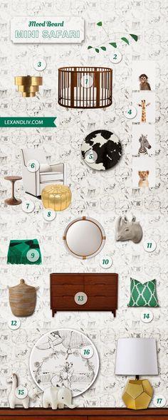 Mini Safari Nursery Inspiration board featuring Stokke Sleepi in Walnut