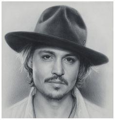 Johnny Depp. Speed drawing by Igor Kazarin in dry brush technique.