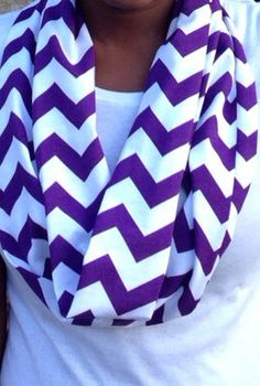 Purple Chevron Cotton Jersey Knit Infinity by DeniseMayCreations, $12.00- Love that it can be monogrammed!
