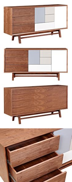 Declutter your contemporary living room or den with the help of this handsome Blox Sideboard. Beautifully crafted, this sideboard offers a modern take on an iconic mid-century design. This stunning pie...  Find the Blox Sideboard, as seen in the #SoftSideofMidCentury Collection at http://dotandbo.com/collections/soft-side-of-mcm?utm_source=pinterest&utm_medium=organic&db_sku=115610
