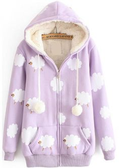 Hooded Sheep Print Pockets Purple Sweatshirt