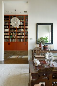 Asian red bookshelves and antique chinese furniture
