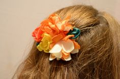 Orange and Yellow Floral Clip to wear spring everyday.