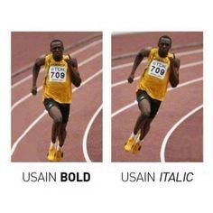 Usain Bold y Usain Italic