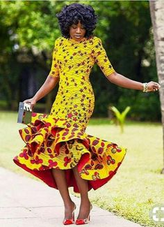 Get this look/ Yellow African Print Dress/African Clothing/African Dress For Women/African Fabric Dress/African Fashion/African Midi Dress/Ankara Dress. African Fashion Designers, African Inspired Fashion, African Dresses For Women, African Print Dresses, African Print Fashion, Africa Fashion, African Attire, African Wear, African Fashion Dresses