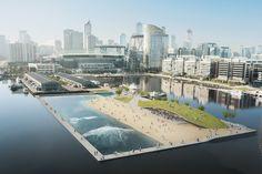 floating surf park proposed for melbourne's victoria harbour - designboom | architecture