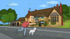 A Man Playing Frisbee With His Dog At A Countryside Pub :  A man with brown hair wearing a red shirt bluish gray pants and gray shoes grins and leans forward to throw a light blue Frisbee to play with his white dog . Set in a house along a quiet road with yellowish beige walls brown roofing and red chimneys television antenna plants and flowers in pots surrounding the front porch.