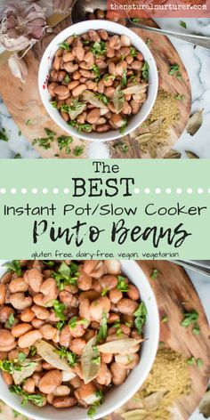 The BEST Instant Pot Pinto Beans (+ slow cooker instructions) are a family dinner staple! Great on their own, over rice, cauliflower rice on mashed in a quesadilla. Healthy Chicken Recipes, Healthy Dinner Recipes, Real Food Recipes, Vegetarian Recipes, Lentil Recipes, Dishes Recipes, Protein Recipes, Fun Recipes, Bon Appetit