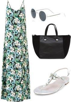 White Tropical Print V Neck Maxi Dress