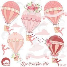 80% OFF Hot Air Balloon Clipart Bridal Shower clipart Wedding clipart Floral clipart commercial use digital clip art AMB-1231