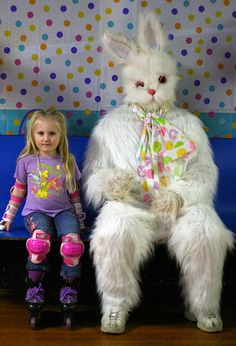 You know that uncomfortable looking little girl is just waiting for the right moment to run (skate) away from that busted up bunny. | 21 Disturbing Easter Bunny Photos That Will Send Chills Down Your Back