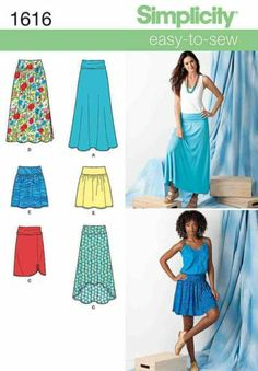 Simplicity 1616 Sewing Pattern Jersey or Woven Mini Maxi Skirt Ladies Size 8-22 | eBay