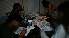 The girls making center piece